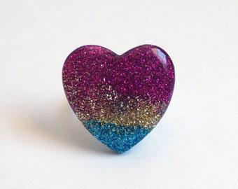 Kawaii Pop Kei Resin Glitter Heart Adjustable Ring - Kawaii Ring, Decora Ring, Fairy Kei Ring, Fairy Kei Jewelry, Pop Kei Jewelry, Handmade