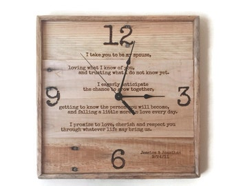 wedding vows framed wedding vows wood anniversary clock rustic wall clock pallet clock personalized clock laser engraved clock