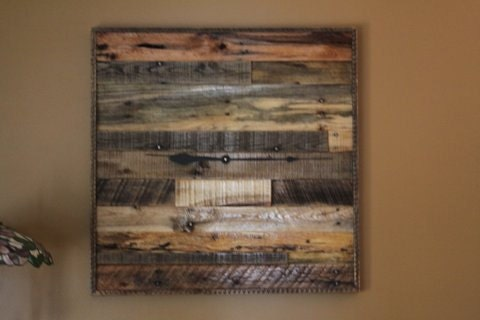 Rustic Wall Clock Recycled Pallet Wood Clock Square Clock