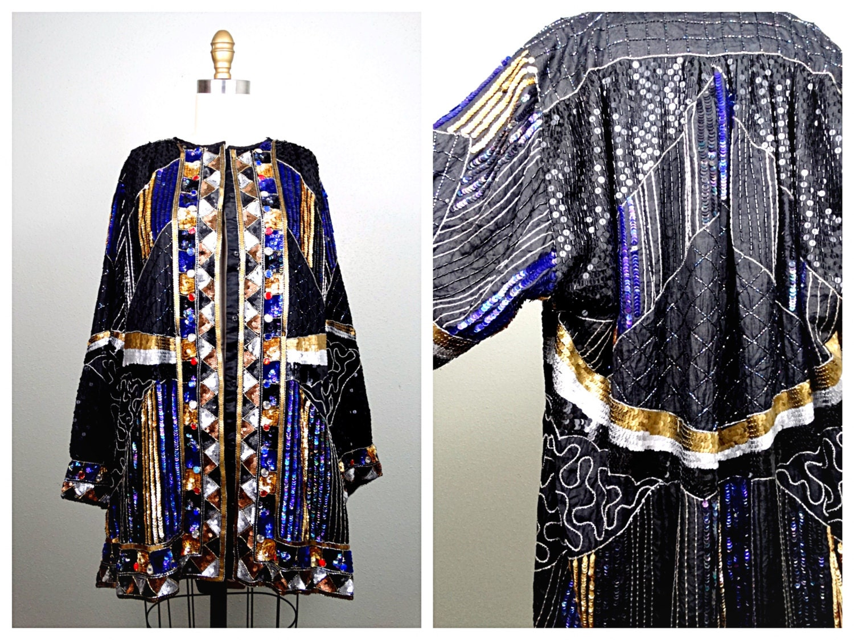 VTG Sequin Kimono Jacket / Bohemian Novelty Open Kaftan /