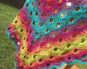 Crocheted Shawl, 30/70 silk/merino