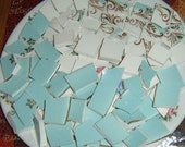 Hand Cut , Broken China, Mosaic Pieces, Mosaic Supplies, Aqua Tiles,