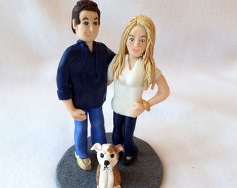 Custom Couple Polymer Clay Figurine, Custom Couple Clay Cake Topper, A Hand Crafted Clay Couple Sculpture