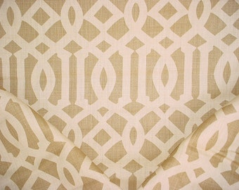 1-7/8 yards F. Schumacher 2643761 Imperial Trellis in Natural / Coffee - Linen Silhouette Print Upholstery Drapery Fabric - Free Shipping