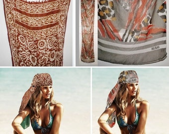 Vintage Long Scarf Neck Head Wrap Black White Cream Orange Brown Mustard Tan Beige Rust Gray Floral Leopard Tiger Zebra Animal Paisley Print