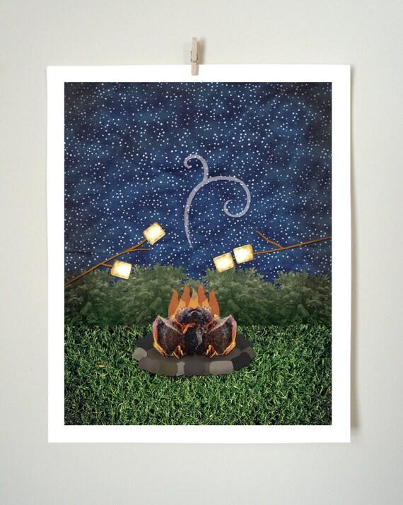 Summer Outdoor Wall Decor : Summer campfire art print collaged outdoor by littleslick