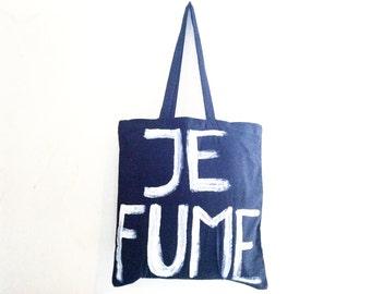 READY to SHIP Je Fume Black I Smoke French Summer Unisex Shoulder Bag / Eve Damon