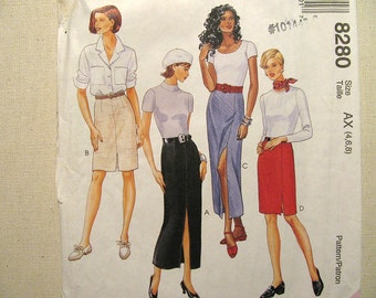 Vintage McCalls 8280 Skirt Pattern - Never Used - Misses Size 4, 6, 8 Fitted Skirt Pattern - Vintage Sewing Supplies Skirt Pattern