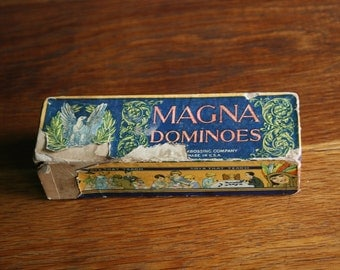 Vintage set of MAGNA dominoes, 28 wooden pieces 1920-30s made in USA