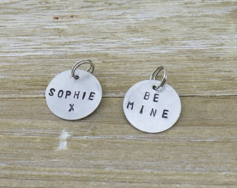 Personalised hand stamped charm for abby