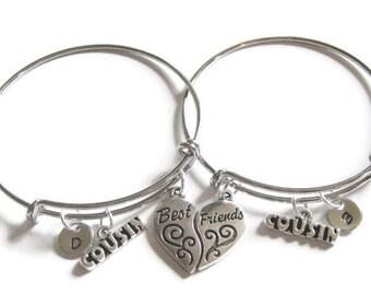 Cousins Initial Heart Best Friend Bangle Bracelets, Adjustable Bracelet, Bangle,  2 Cousins Bracelets, Bangle Bracelets, Cousins Jewelry