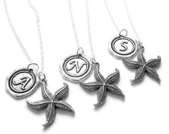3 Best Friends Starfish Wax Seal Initial Necklaces BFF