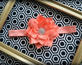 SALE - CORAL Chiffon Flower with Rhinestone on Elastic Headband, Clothing Accessory for Baby and Toddler Girls, Photo Prop