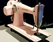 Restored Singer 201 Vintage Sewing Machine in Ballet Slipper Pink, with Free Shipping and Service Guaranty