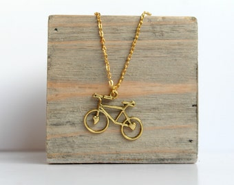 Gold Bicycle Necklace, Bicycle Charm Pendant, Valentines gift