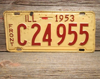 Illinois License Plate 1953 Red and Off White C24955 Front