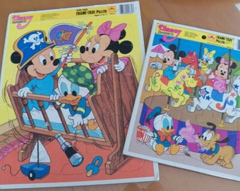 Lot 2 Disney Babies Frame-Tray Golden Puzzles Vintage 80's Mickey Minnie Mouse