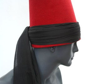 Whirling Dervish black turban Hat, sufi hat ''Sikke''  59~60 cm cherry red