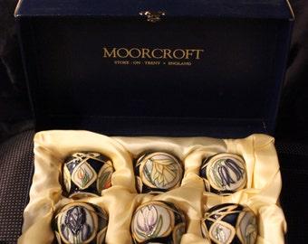 6-Piece Set | Moorcroft Pottery-Manufactured Indigo Blue Parisian Dream Egg Cups