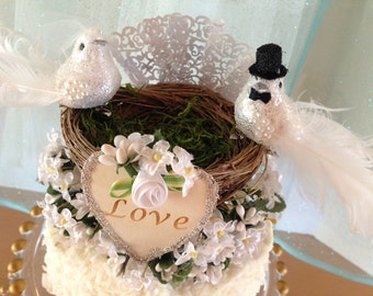 Rustic Wedding Cake Topper, Love Birds, Mr And Mrs Cake Topper, Flower Cake Topper, Custom Colors