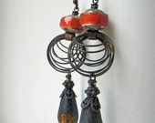 Little Tall Black Circles - rustic industrial earrings w/ artisan ceramics and grungy cages; southern gothic, primitive, post-apocalyptic