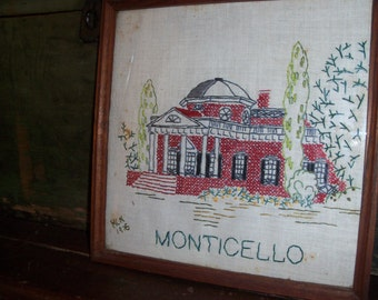 Vintage 1976 Cross Stitch Handmade Wall Decor Art Monticello Virginia Thomas Jefferson