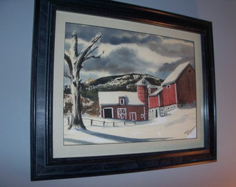 Vintage Original Painting Farm in the Snow Holiday Winter Framed Matted