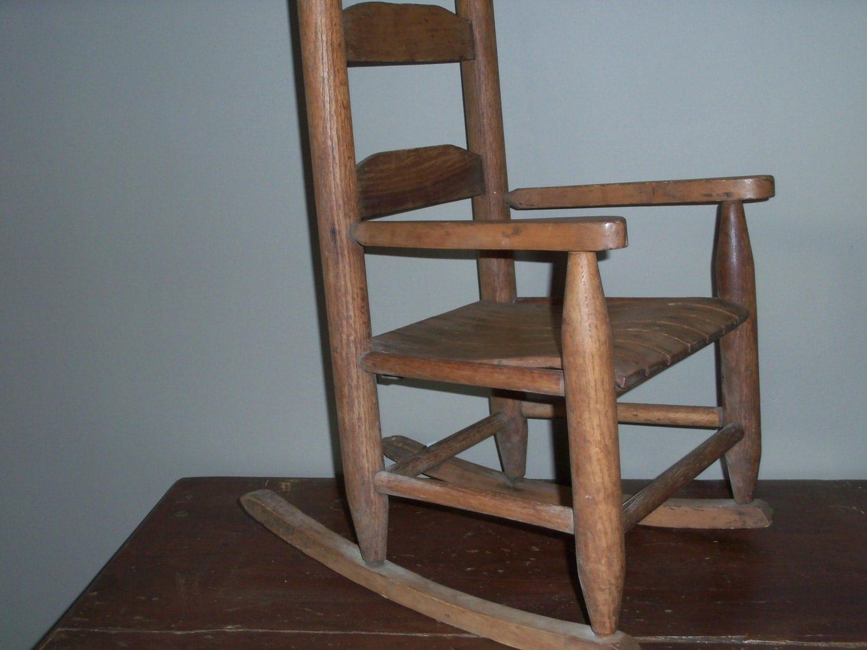 Antique child s wooden rocking chair amazing shape