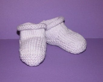 baby Booties hand knitted in palest lilac baby yarn.