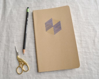 Geometric Notebook - Hand Embroidered Hexagon with Gold Metallic Accents