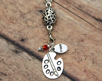Painter Palette - Create Stamped - Silver Charm Necklace