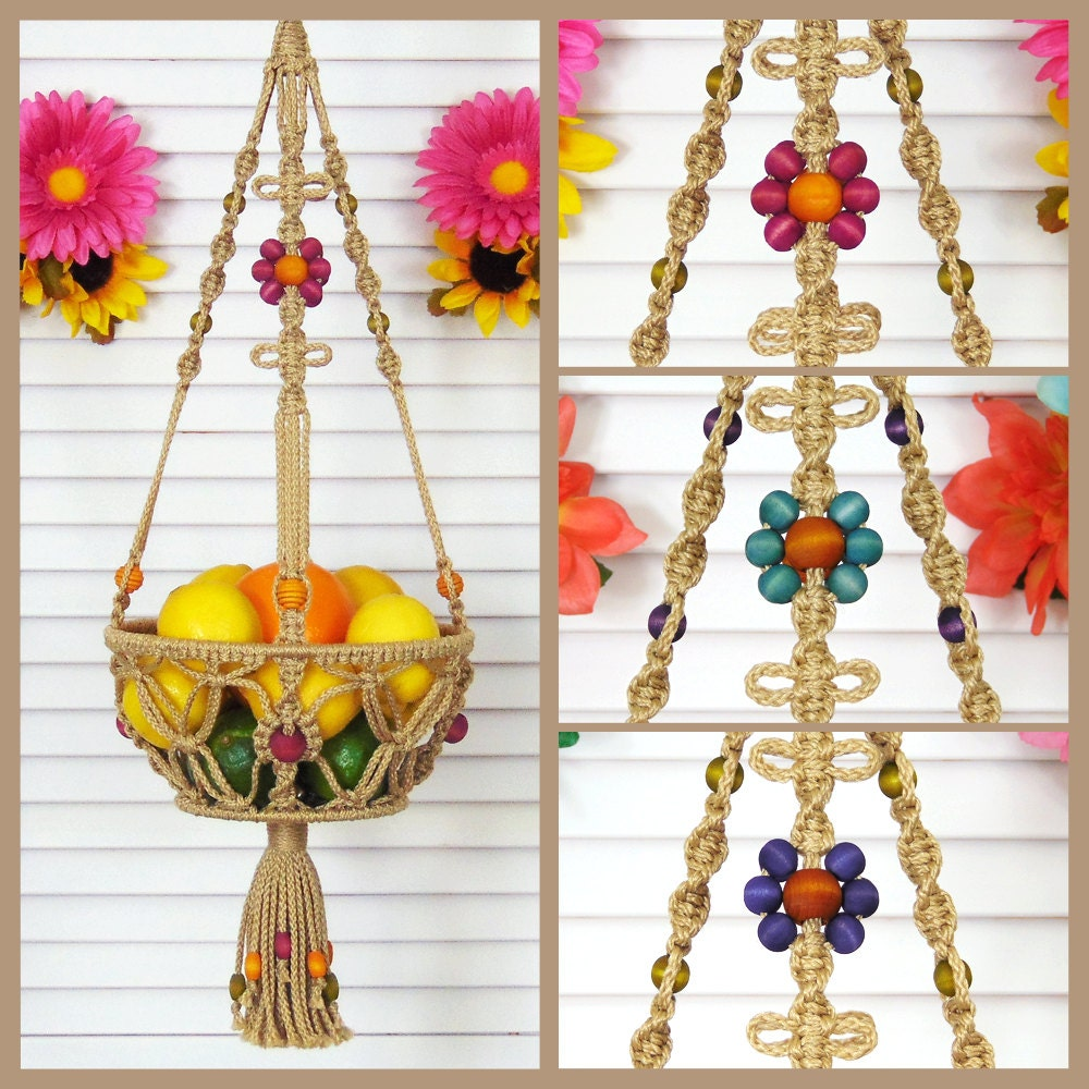 macrame patterns hanging basket 8 inch basket macrame hanging basket veggie fruit bowl 3710