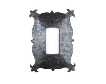 Rustic Mediterranean Hammered Iron Style Switch Plate Cover GFI Single EPH13