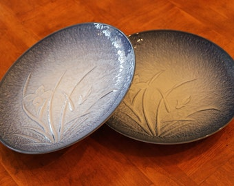Set of Two Dinner Plates in a Textured Blue and White Iris Pattern