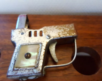 Vintage Miniature Gun Lighter with Mother of Pearl Inlay Collectible