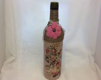 Decorated Wine Bottle - Cottage Chic