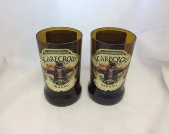 Wychwood Brewery Scarecrow Beer Glasses (Recycled Bottles) Set of 2