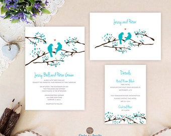 Turquoise wedding invitation set printed on shimmer white paper: invitation+ RSVP card + details card | Tree wedding invitations