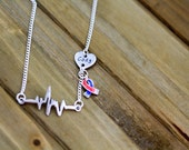 CHD Awareness Heartbeat with Custom Heart Necklace - Optional Awareness Ribbon - Congenital Heart Defect