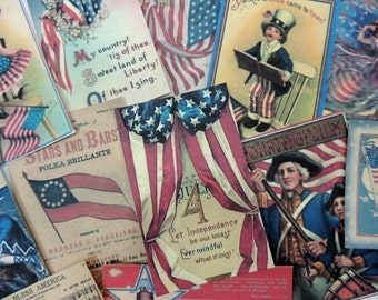 Lot of 12 Vintage 4th of JULY Die Cuts for Cardmaking || J16 || Free Ship || Red White Blue