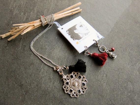 Necklace Bulgan: pendant, crystal, Buddha pendant, metallic lace pendant, tassel