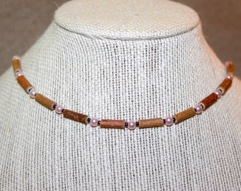 Hazelwood Necklace, Light Pink Pearl Beads, Therapeutic Beads
