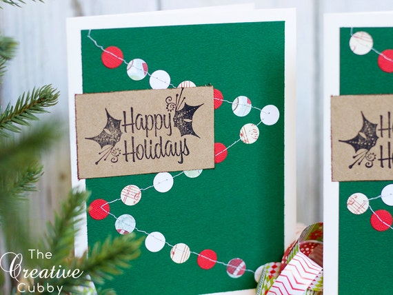 Retro Sewn Tree Garland Christmas Card (set of 10)