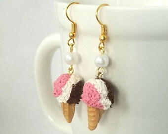 Neopolitan Ice Cream Cone Earrings