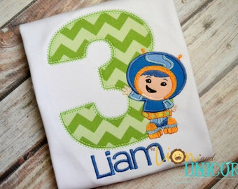 Team Umizoomi Geo Birthday Shirt - number can be changed - colors can be changed - umi zoomi
