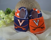 University of Virginia Baby Shoes - Mushies Baby Shoes - Soft Sole Baby Shoes - Fleece Lined Fabric Baby Shoes - UVA Baby Shoes
