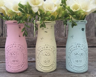 PInk Vases Set of 3 Shabby Chic Beachy Ombre by ThePaintedLdy