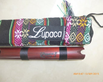 Fine Art Profesional Lupaca Red Blood Wood  Quena  Case Included -Item in USA - Handmade in  Peru