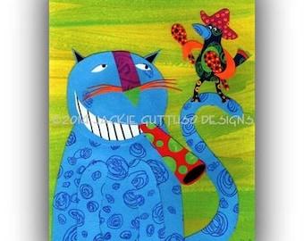 "Cat art 5 x 7"" Giclee, Cat painting print, Grinning cat collage, Cat art, Cat lover gift, Whimsical cat decor, Whimsical bird, Animal art"