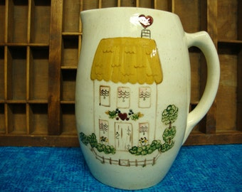 """Ceramic Pitcher Handpainted Signed """"Yvonne Snead"""""""